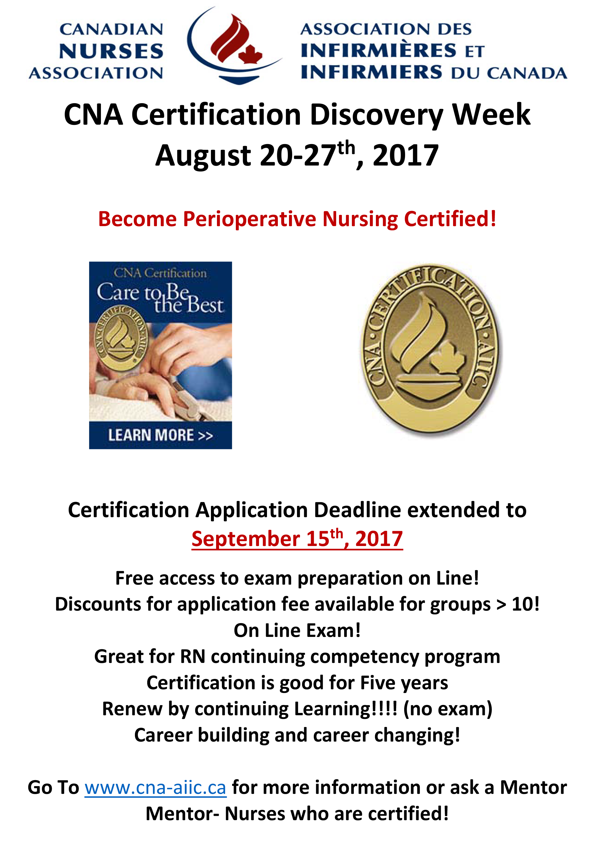 Cna certification news 20170825 cna certification discovery week perioperative nursing en rev xflitez Choice Image